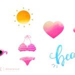 夏のイラスト(にじみ) ‐ バラエティパック