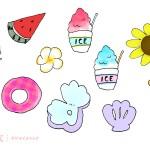 夏のイラスト(手描き) ‐ バラエティパック